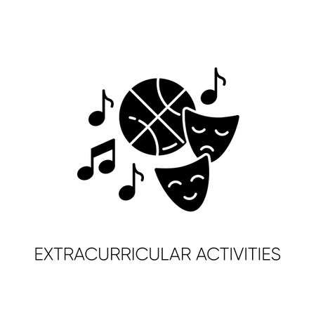 Extracurricular activities black glyph icon. Different academic clubs, highschool hobbies. Sport training, drama class, dancing and music silhouette symbol on white space. Vector isolated illustration Illusztráció