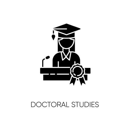 Doctoral studies black glyph icon. University graduation, academic achievement silhouette symbol on white space. Obtaining doctors degree. PhD student, successful graduate vector isolated illustration