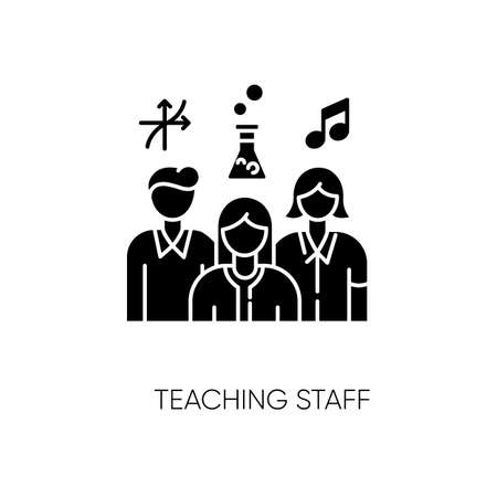 Teaching staff black glyph icon. Educational institution personnel, professional tutors. Mathematics, chemistry and music teachers silhouette symbol on white space. Vector isolated illustration Ilustração