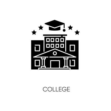College black glyph icon. Higher education silhouette symbol on white space. Academic institution, prestigious gymnasium, university graduation. Campus and bachelors cap vector isolated illustration