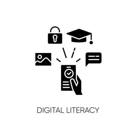 Digital literacy black glyph icon. Modern education, e learning silhouette symbol on white space. Using smartphone for education, communication and entertainment. Vector isolated illustration