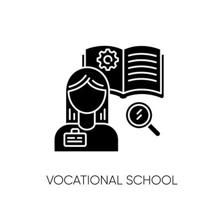 Vocational school black glyph icon. Professional skills development, specialty education silhouette symbol on white space. Potential workers training courses. Student vector isolated illustration Illusztráció