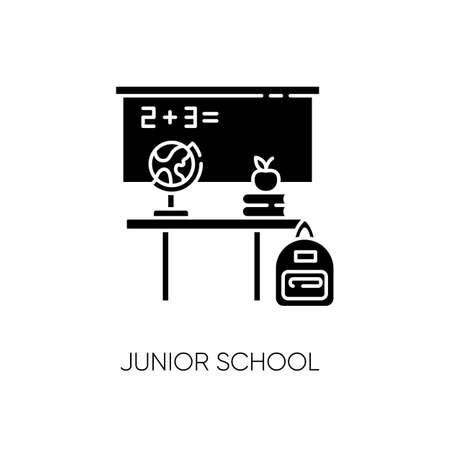 Junior school black glyph icon. Primary education establishment, studying basic sciences silhouette symbol on white space. Classroom equipment. Blackboard, desk and globe Vector isolated illustration Illusztráció