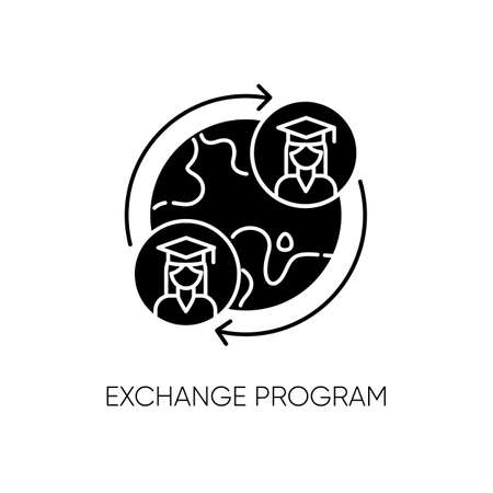 Exchange program black glyph icon. International students swap. Opportunity for studying in foreign university. Education abroad silhouette symbol on white space. Vector isolated illustration