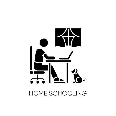Home schooling black glyph icon. Online classes, internet training course. Distant education, e learning silhouette symbol on white space. Remote student with laptop vector isolated illustration