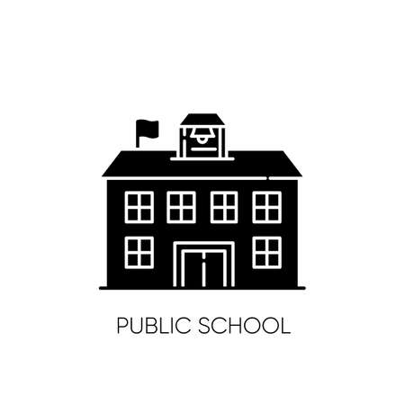 Public school black glyph icon. Educational institution funded by government. Free academic learning silhouette symbol on white space. State school, community college vector isolated illustration