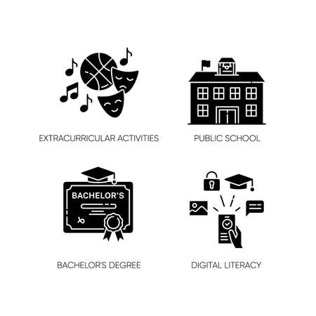 Public school education black glyph icons set on white space. Extracurricular activities, bachelor degree and digital literacy. Diploma and e learning silhouette symbols. Vector isolated illustrations