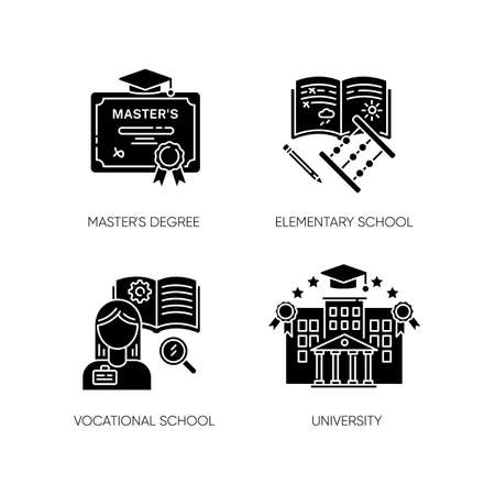 Primary and higher education black glyph icons set on white space. Masters degree, elementary school, university and vocational school silhouette symbols. Vector isolated illustrations