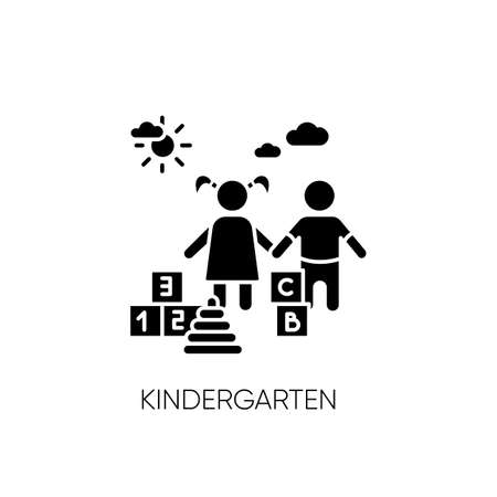 Kindergarten black glyph icon. Day care center, institution for little children. Preschool education silhouette symbol on white space. Girl and boy playing with toys vector isolated illustration