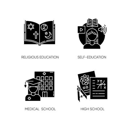 Gaining knowledge black glyph icons set on white space. Religious teaching, self education, medical school and highschool subjects. Academic learning silhouette symbols. Vector isolated illustrations