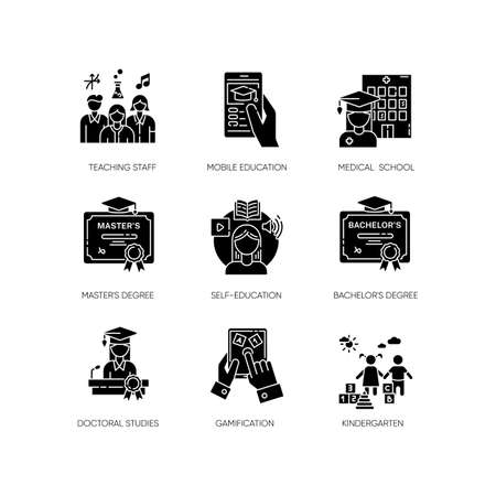 Modern education black glyph icons set on white space. E learning, professional teachers and higher education opportunities. Acquiring knowledge silhouette symbols. Vector isolated illustrations Vettoriali