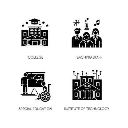 Higher education black glyph icons set on white space. Institute of technology, college. Professional teaching staff and special learning conditions silhouette symbols. Vector isolated illustrations