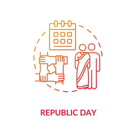 Republic day concept icon. National holiday celebration. Constitution day in India idea thin line illustration. Calendar and indian couple vector isolated outline RGB color drawing