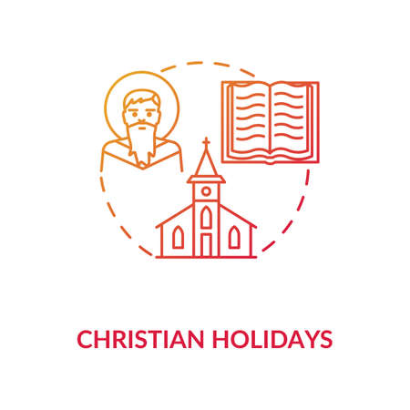 Christian holidays concept icon. Traditional religious events and festivals. Christianity idea thin line illustration. God, church and bible vector isolated outline RGB color drawing 向量圖像