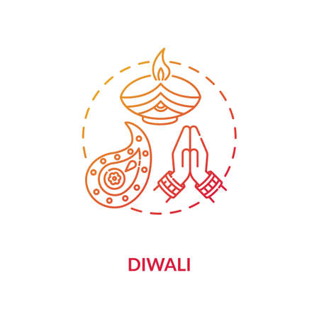 Diwali concept icon. National indian holiday, festival of lights idea thin line illustration. Deepavali celebration. Candle and rangoli vector isolated outline RGB color drawing