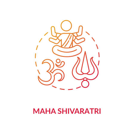 Maha shivaratri concept icon. Traditional hindu festival idea thin line illustration. Religious holiday of India. Shiva and hinduism sign vector isolated outline RGB color drawing Stock fotó - 152491006