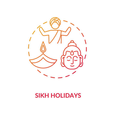 Sikh holidays concept icon. Indian religious festivals, traditions and culture celebration. Sikhism idea thin line illustration. Vector isolated outline RGB color drawing 向量圖像