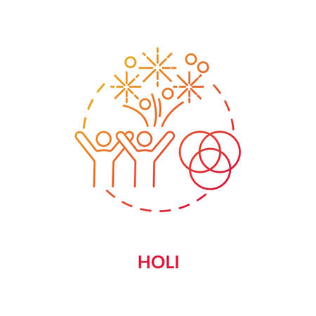 Holi concept icon. National indian holiday, traditional hindu festival idea thin line illustration. Happy people and colorful gulaal vector isolated outline RGB color drawing Stock fotó - 152491030