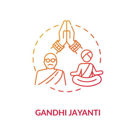Gandhi jayanti concept icon. Indian holiday, Mahatma Gandhi commemoration idea thin line illustration. International non violence day. Vector isolated outline RGB color drawing