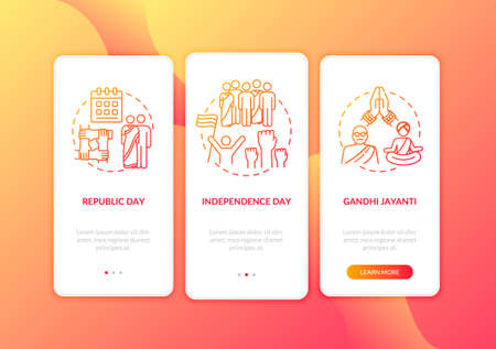 National Indian holidays onboarding mobile app page screen with concepts. Public holidays in India. Walkthrough 3 steps graphic instructions. UI vector template with RGB color illustrations Illusztráció