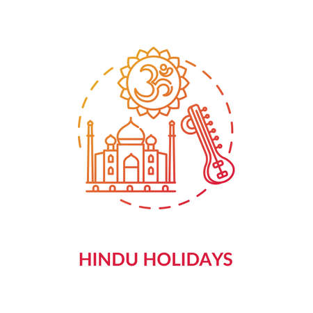 Hindu holidays concept icon. Indian religion, hinduism idea thin line illustration. Traditions of India. Taj Mahal and om sign vector isolated outline RGB color drawing