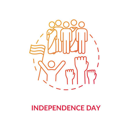 Independence day concept icon. National indian holiday idea thin line illustration. Annual festival in India. Celebrating people with flag vector isolated outline RGB color drawing 向量圖像