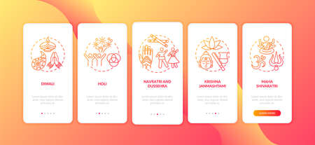 Top Hindu festivals onboarding mobile app page screen with concepts. Krishna Janmashtami. Holi and Diwali. Walkthrough 5 steps graphic instructions. UI vector template with RGB color illustrations