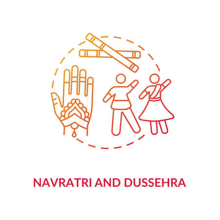 Navratri and dussehra concept icon. Hindu festival idea thin line illustration. Traditional indian accessories and celebrating people vector isolated outline RGB color drawing Illusztráció