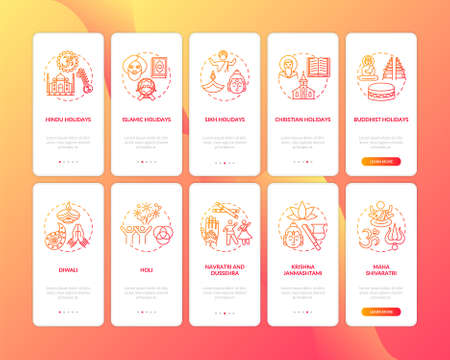Indian holidays onboarding mobile app page screen with concepts set. Sikh holidays. Holi and Diwali. Walkthrough 5 steps graphic instructions. UI vector template with RGB color illustrations Illusztráció