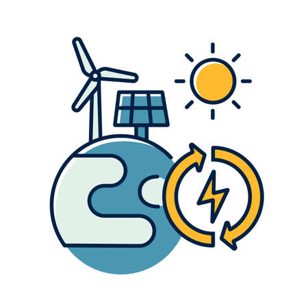 Renewable energy RGB color icon. Alternative power generation sources. Environment protection. Planet with solar panel and wind turbine isolated vector illustration Vettoriali