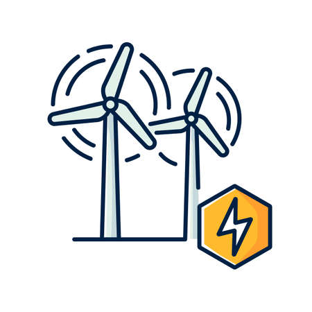 Wind power plant RGB color icon. Alternative energy industry. Using renewable natural resources, electricity generation. Wind turbines isolated vector illustration Vettoriali