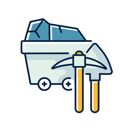 Coal industry RGB color icon. Natural resources exploitation, fossil fuel mining. Colliery equipment, trolley with coal and pickaxe isolated vector illustration