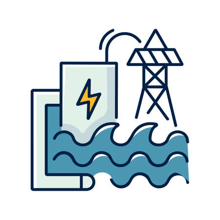Wave energy RGB color icon. Ecologically safe power plant. Using sea waves power for electricity generation. Hydroelectric station isolated vector illustration 向量圖像