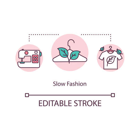 Slow fashion concept icon. Sustainable consumption of clothes. Ecological production. Ethical manufacturer idea thin line illustration. Vector isolated outline RGB color drawing. Editable stroke
