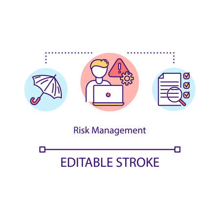 Risk management concept icon. Danger reduction in information technology. Corporate project manager idea thin line illustration. Vector isolated outline RGB color drawing. Editable stroke