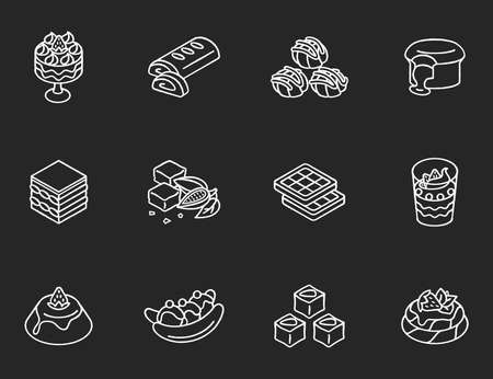 World famous desserts chalk white icons set on black background. Traditional sweets. Turkish delight. Chocolate lava cake. Brownies. Tiramisu. Isolated vector chalkboard illustrations