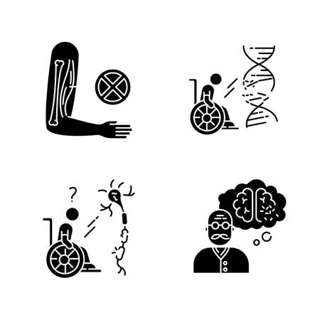 Disability black glyph icons set on white space. Muscular dystrophy. Chronic genetic disease. Paralyzed patient in wheelchair. Spinal cord damage. Silhouette symbols. Vector isolated illustration