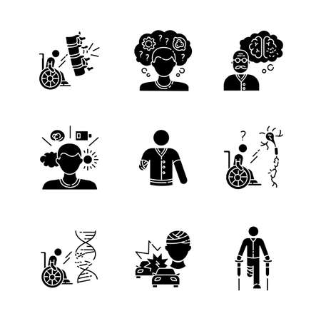 Patient with disability black glyph icons set on white space. Handicapped man. Paralyzed person in wheelchair. Memory loss from Alzheimer disease. Silhouette symbols. Vector isolated illustration