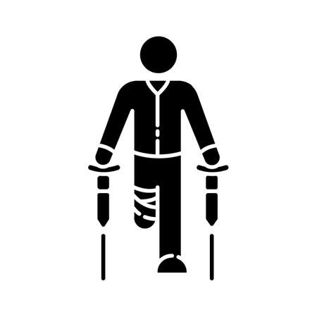 Leg amputee black glyph icon. Disabled man with crutches. Rehabilitation for handicapped person. Patient with bandaged leg. Silhouette symbol on white space. Vector isolated illustration