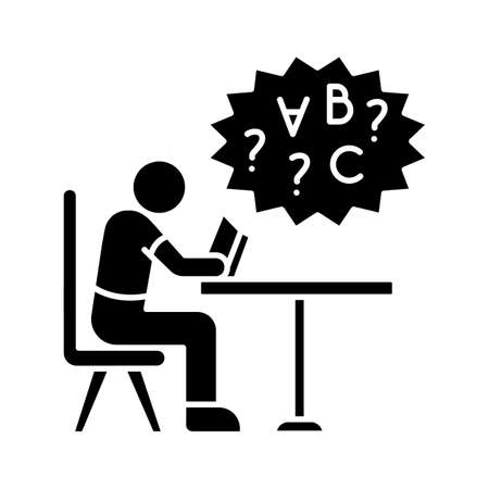 Dyslexia black glyph icon. Difficulty with reading book. Chronic disorder for intelligence. Child with problem in education. Silhouette symbol on white space. Vector isolated illustration