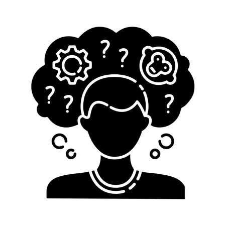 Intellectual disability black glyph icon. Person with short term memory loss. Think in confusion. Amnesiac man. Anxious question. Silhouette symbol on white space. Vector isolated illustration