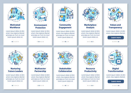 Responsible production onboarding mobile app page screen with concepts. Sustainable development walkthrough 5 steps graphic instructions. UI vector template with RGB color illustrations