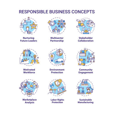 Responsible business concept icons set. Nurture future leader. Environment protection. Sustainable development idea thin line RGB color illustrations. Vector isolated outline drawings. Editable stroke