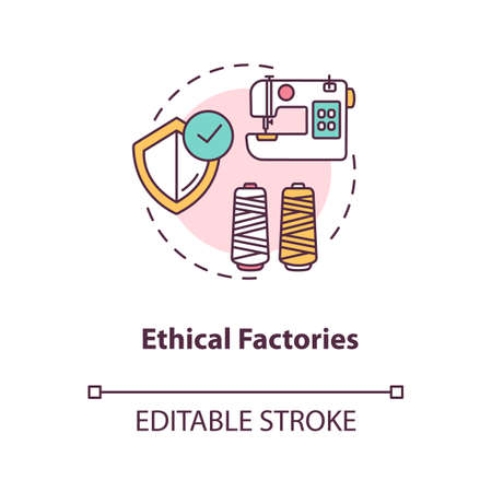 Ethical factories concept icon. Textile supplier. Zero waste manufacture. Sustainable production of material idea thin line illustration. Vector isolated outline RGB color drawing. Editable stroke Vektorové ilustrace