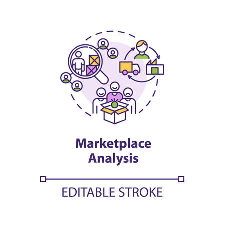 Marketplace analysis concept icon. Financial report. Commercial research. Information assessment idea thin line illustration. Vector isolated outline RGB color drawing. Editable stroke