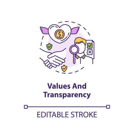 Values and transparency concept icon. Company reliability. Company culture. Core corporate ethics idea thin line illustration. Vector isolated outline RGB color drawing. Editable stroke Illustration
