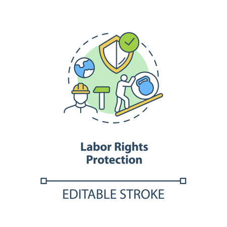 Labor rights protection concept icon. Employee health safety. Support labour movement. Trade union idea thin line illustration. Vector isolated outline RGB color drawing. Editable stroke