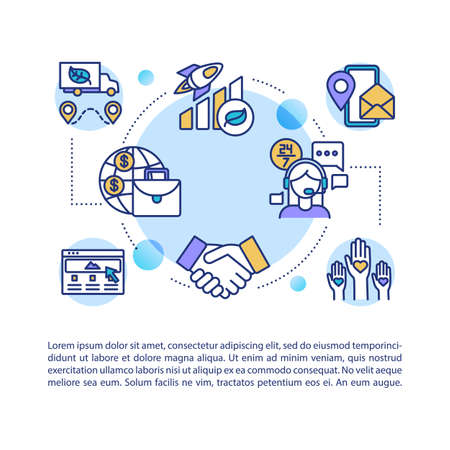 Corporate reputation concept icon with text. Work performance. Client satisfaction. Call center support. PPT page vector template. Brochure, magazine, booklet design element with linear illustrations
