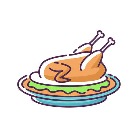 Peking duck RGB color icon. Whole roasted chicken with gravy for thanksgiving. Beijing traditional dish recipe. Cooked poultry meat. National meal for dinner. Isolated vector illustration Ilustrace