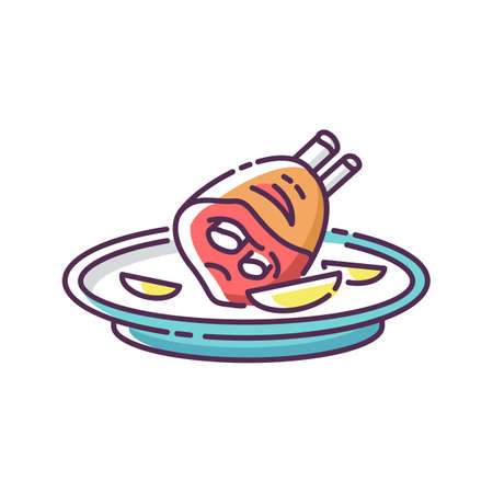Roasted pork knuckle RGB color icon. German meat dish. Traditional european meal recipe. Poultry ingredient for cooking lunch. Dinner in luxury restaurant. Isolated vector illustration